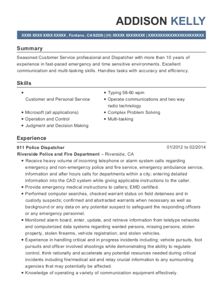 Searcy Police Department 911 Police Dispatcher Resume Sample