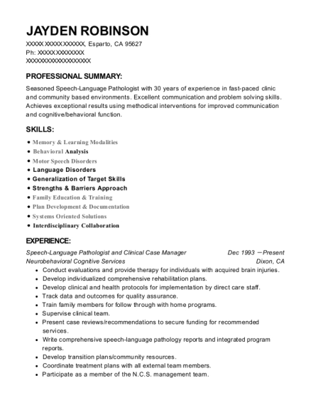 Speech Language Pathologist and Clinical Case Manager resume template California