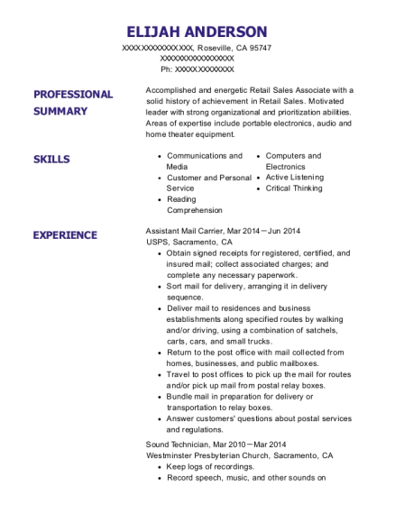 Assistant Mail Carrier resume sample California