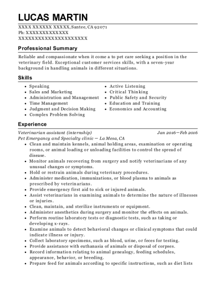 Veterinarian assistant resume example California