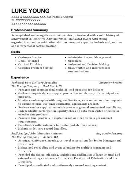 Technical Data Delivery Specialist resume example California