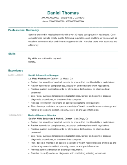 Health Information Manager resume format California