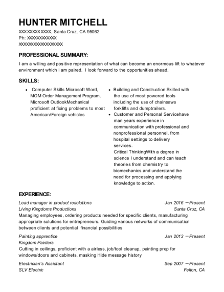 Lead manager in product resolutions resume format California