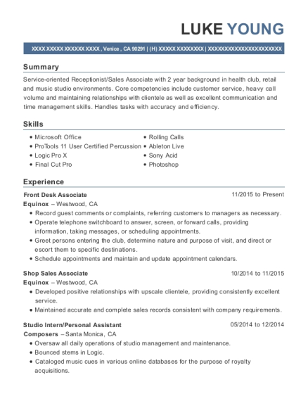 Front Desk Associate resume sample California