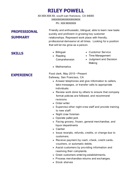 Food clerk resume example California