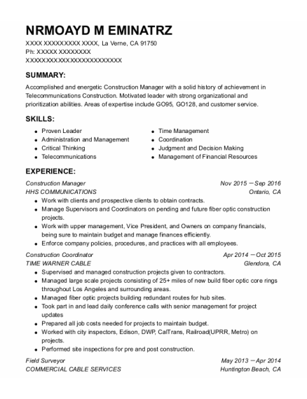 Construction Manager resume example California