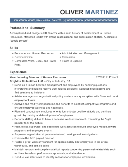 Manufacturing Director of Human Resources resume format California