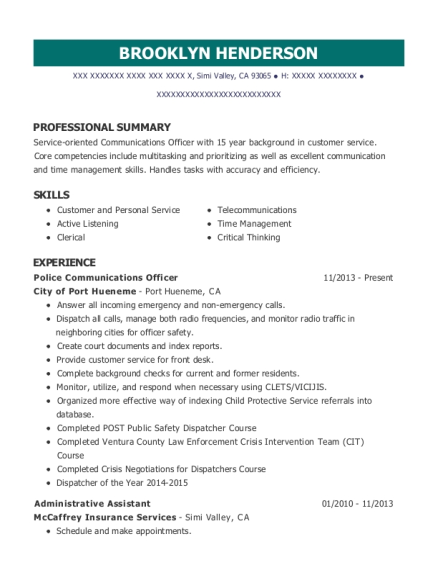 Police Communications Officer resume example California