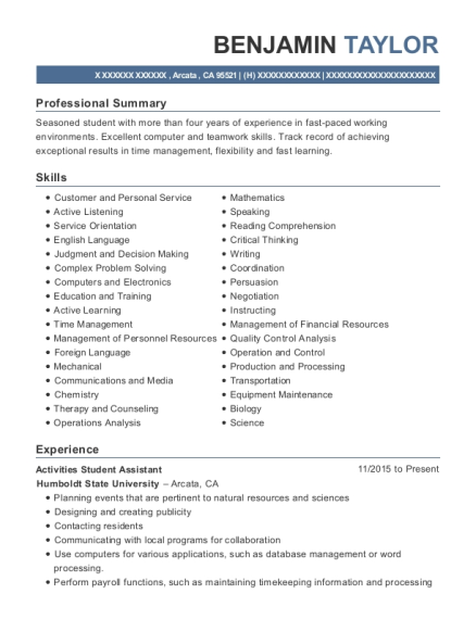 Activities Student Assistant resume template California