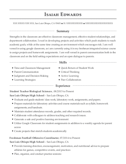 Student Teacher Biological Sciences resume template California