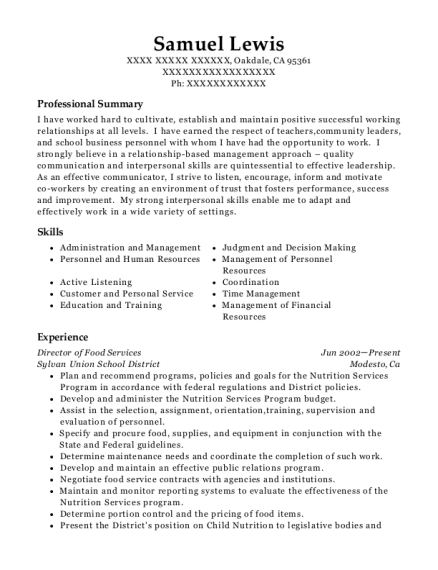 Director of Food Services resume template California