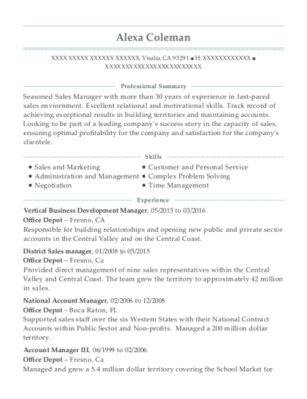 Vertical Business Development Manager resume format California