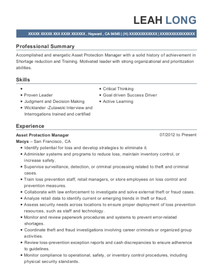 Asset Protection Manager resume sample California
