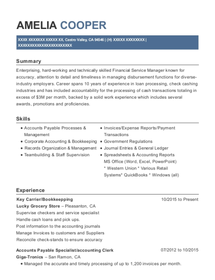 Key Carrier resume template California