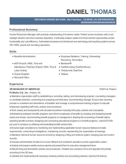 HR MANAGER OF AMERICAS resume example California