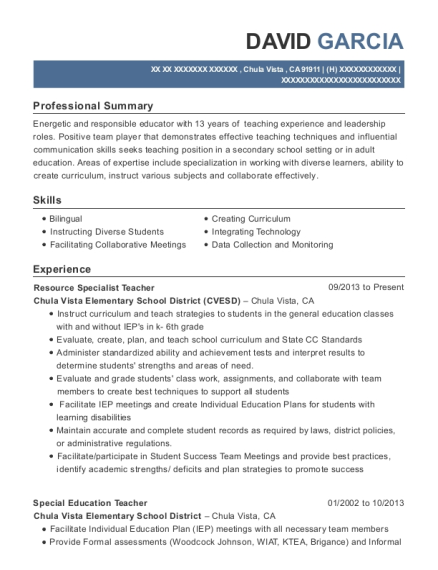 Resource Specialist Teacher resume example California