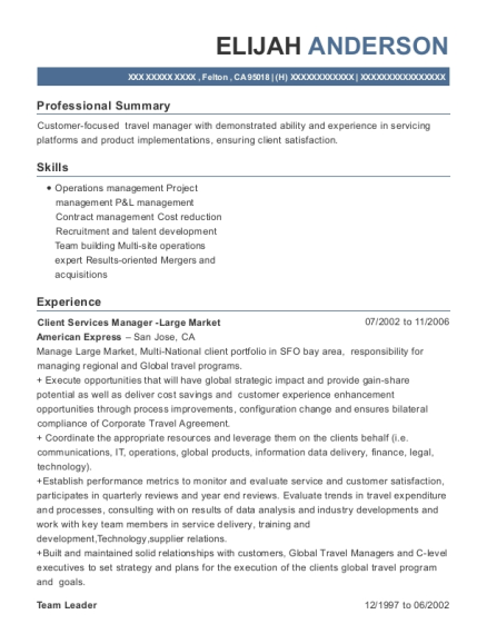 Client Services Manager Large Market resume example California