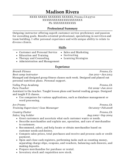 Boot camp instructor resume example California