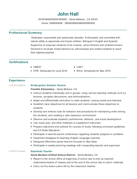 Kindergarten Student Teacher resume template California
