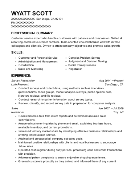 Survey Researcher resume sample California