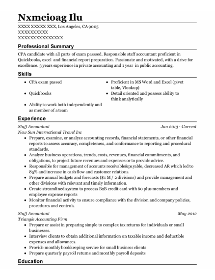 Staff Accountant resume format California