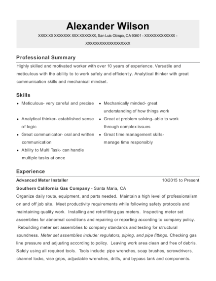 Advanced Meter Installer resume example California