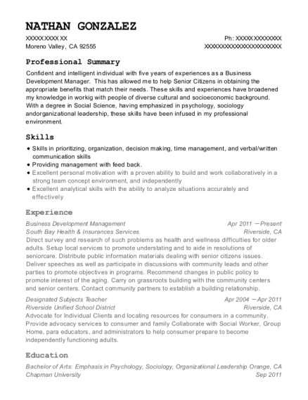 Business Development Management resume template California