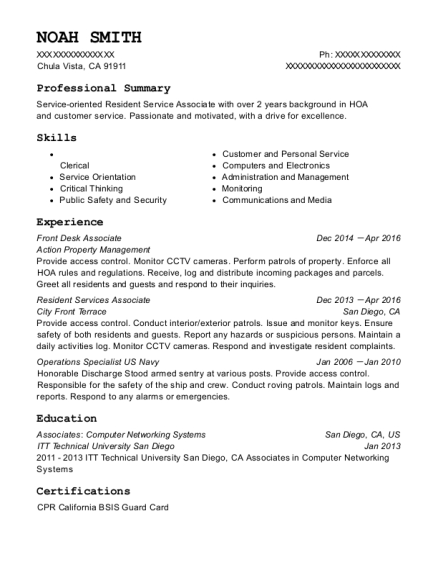 Front Desk Associate resume template California
