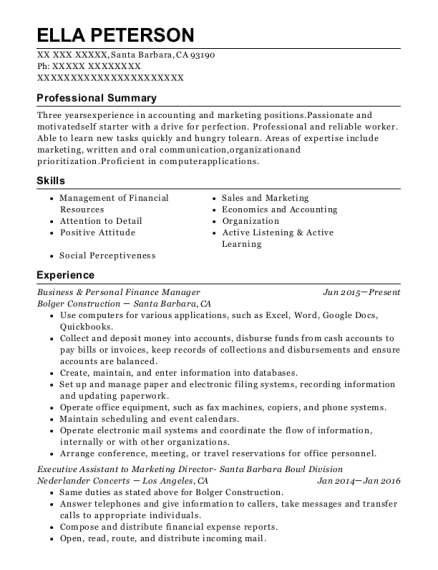 Business & Personal Finance Manager resume sample California