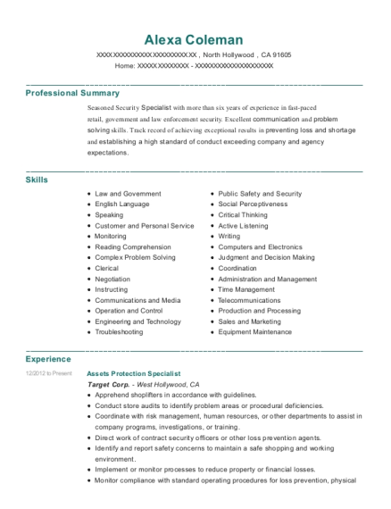 Assets Protection Specialist resume example California