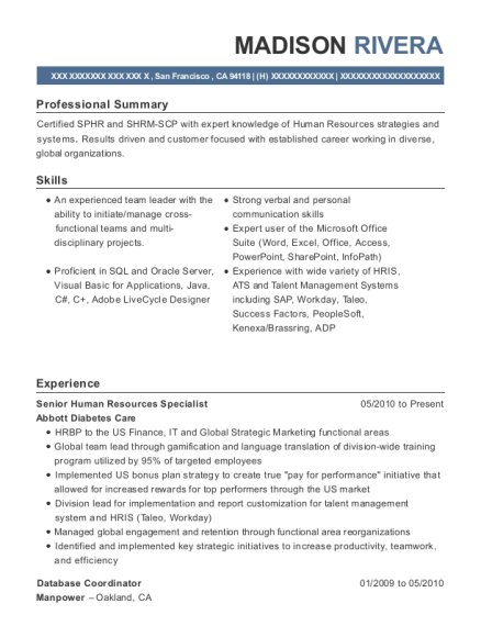 Senior Human Resources Specialist resume format California