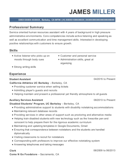 Student Assistant resume template California