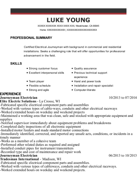 Journeyman Electrician resume template California