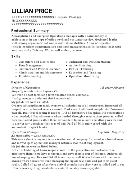 Director of Operations resume example California