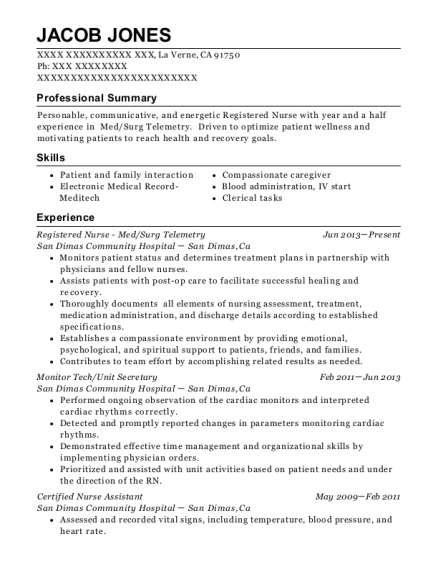 Registered Nurse Med resume format California