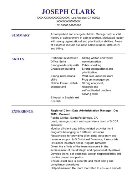 Regional Client Data Administration Manager resume template California