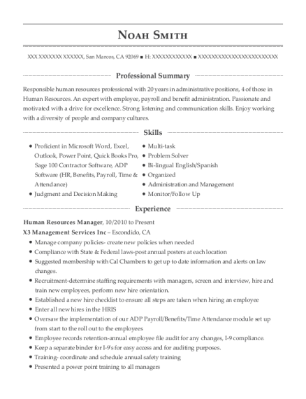 Human Resources Manager resume sample California