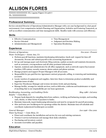 Director of Operations resume template California