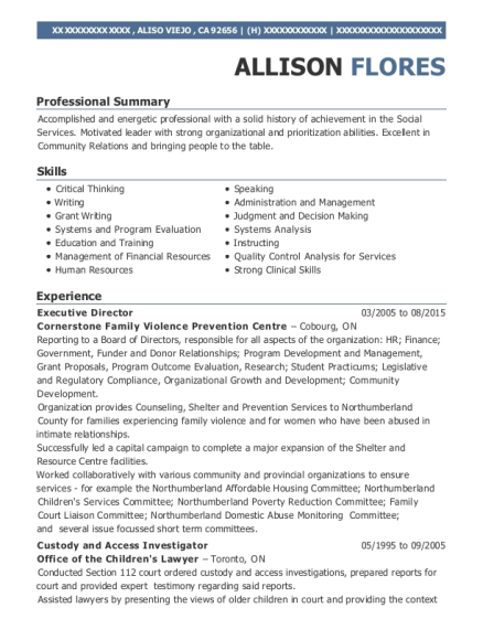 Executive Director resume sample California