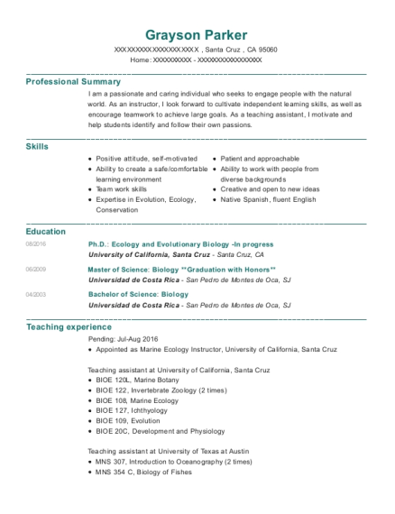 PhD Candidate and Teaching Assistant resume format California