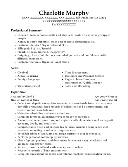 Accounting Clerk I resume template California