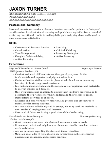 Physical Education Assistant Coach resume template California