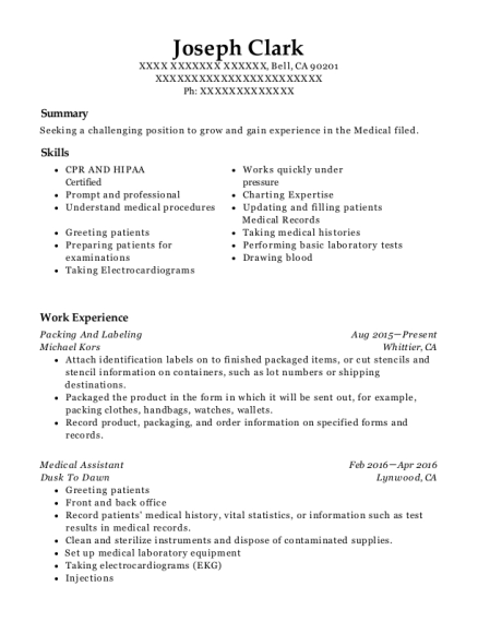 Packing And Labeling resume example California