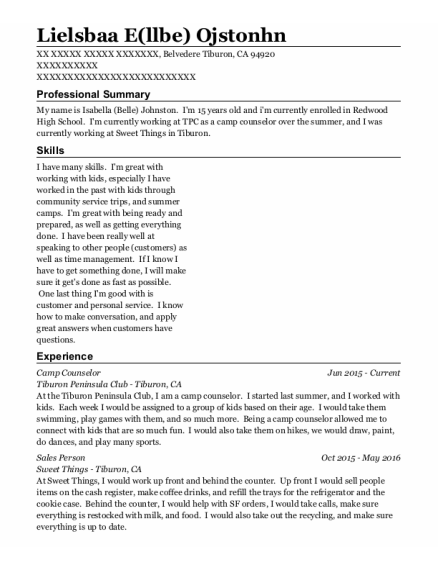 Camp Counselor resume example California