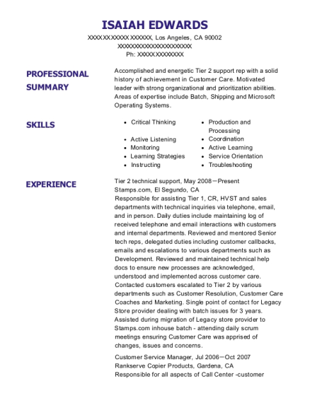Tier 2 technical support resume template California
