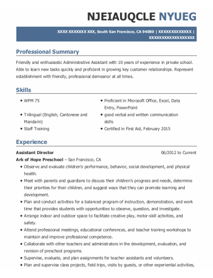 Assistant Director resume format California