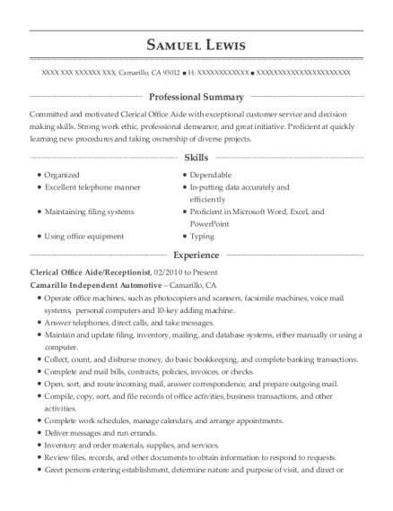 Clerical Office Aide resume format California