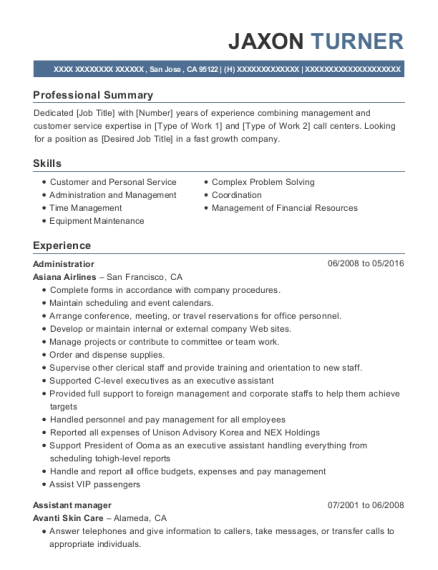 Administratior resume sample California