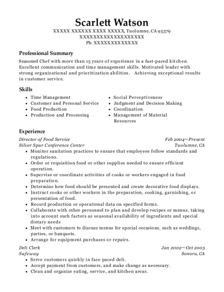 Director of Food Service resume example California