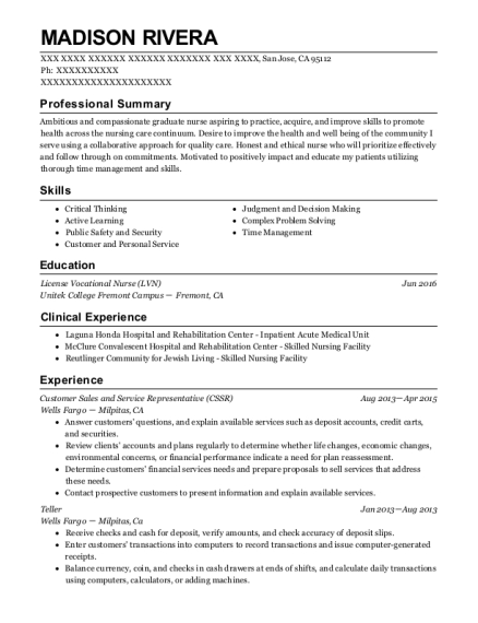 Customer Sales and Service Representative resume example California